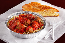 Carry-out Spaghetti And Meatballs With Fresh Bread