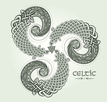 Folk Ethnic Triskele Symbol. Fantasy Ornament Of Ancient Nordic Sign. Round Disk With Celtic Knots. Print For Logo, Icon, Fabric, Tattoo, Embroidery, Decoration. Geometric Circle Triple Spiral.