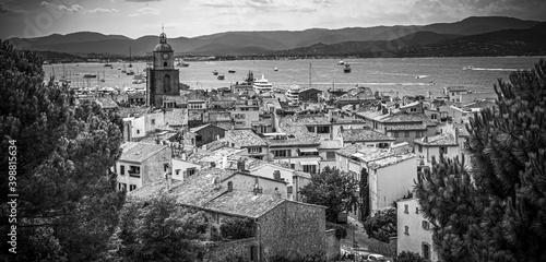 Tablou Canvas View over Saint Tropez in France located at the Mediterranian Sea at the Cote D