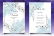 Watercolor hand drawing floral wedding invitation card
