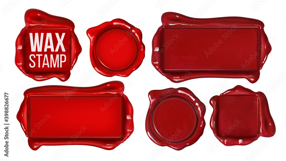 Fototapeta Collection Of Red Wax Stamp Set Copy Space Vector