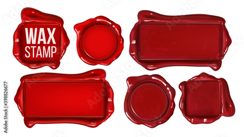 Obraz na plátne Collection Of Red Wax Stamp Set Copy Space Vector