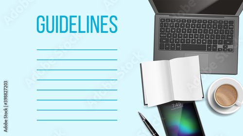 Fototapeta Guidelines Notepad Page Template With Text Space obraz