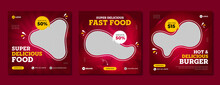 Super Delicious Fast Food Social Media Post Template. Healthy & Tasty Food Banner, Flyer Or Poster Design For Online Business Marketing & Promotion. Restaurant Offer Menu Design With Brand Logo.