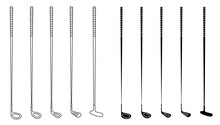 Set Of Golf Clubs For Different Shots And Shapes. Golfer Sports Equipment. Active Lifestyle. Vector