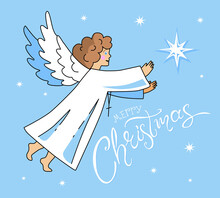 Christmas Angel And Christmas Star, With Lettering