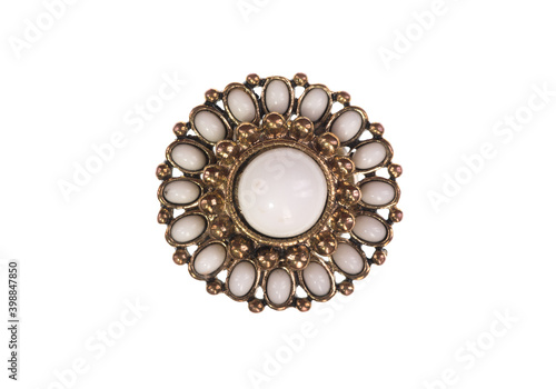 Fotografering ancient jewelry brooch with pearls isolated on white background