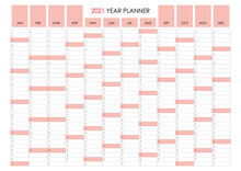 2021 Planner. Standard Horizontal Format Calendar And Simple Style. Sunday In Light Red Color. Wall Organizer, Yearly Planner Template. Vector Illustration. Vertical Months. One Page. Set Of 12 Months