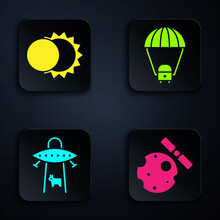 Set Satellites Orbiting The Planet Earth, Eclipse Of The Sun, UFO Abducts Cow And Space Capsule And Parachute. Black Square Button. Vector.