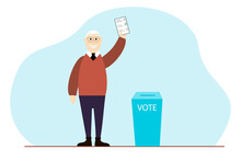 Old Man Putting Vote Into The Ballot Box. Democracy Elections Vector Flat Illustration.