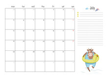 Printable A4 Planner Page For July 2021 With A Cute Bull, Cow Or Ox, The Symbol Of The New Year 2021 According To The Chinese Calendar. Week Starts On Monday