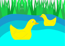 Yellow Ducks On Blue Pond With Reeds In The Background. Waterfowl. The Pond. Weed. Vector. Children's Illustration, Drawing.