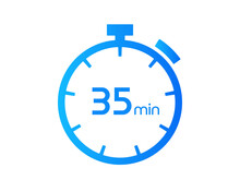 35 Minutes Timers Clocks, Timer 35 Mins Icon, Countdown Icon. Time Measure. Chronometer Vector Icon Isolated On White Background