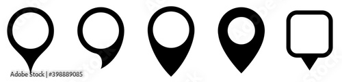 Map marker pointer icon set . Marker map icons symbol. Pointer map. GPS location.Black map markers collection design.Vector