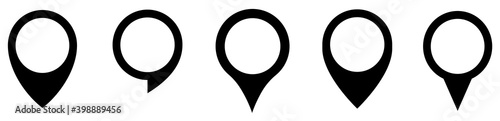 Obraz Map marker pointer icon set . Marker map icons symbol. Pointer map. GPS location.Black map markers collection design.Vector - fototapety do salonu