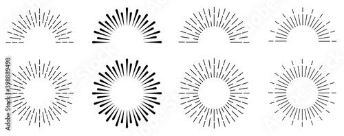 Obraz Sunburst set. Sunburst icon collection vector.Retro sunburst design.Big collection sunburst best quality. Burs.Sunrise rays light burst line shine sunshine sunbeam .Vector illustration. - fototapety do salonu