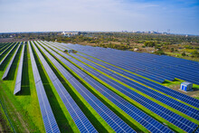 Large Solar Power Plant On A Picturesque Green Field In Ukraine