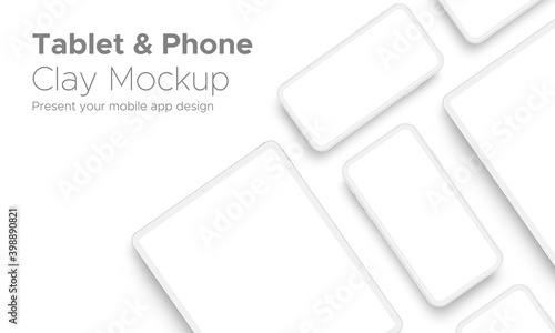 Obraz Mobile App Design Tablet Computer and Smartphone Clay Mockup With Space for Text Isolated on White Background. Vector Illustration - fototapety do salonu
