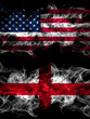 United States of America, America, US, USA, American vs England, English smoky mystic flags placed side by side. Thick colored silky abstract smoke flags
