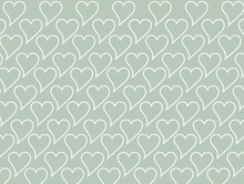 Green Wallpaper Of White Hearts