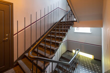 Modern Interior Of Hall In Block Of Flats. Entrance In Residential Complex. Staircase.