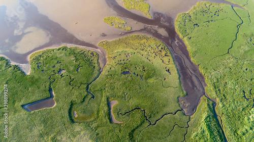 Fotografia, Obraz Findhorn Estuary tidal outlet ox-bow shapes and patterns