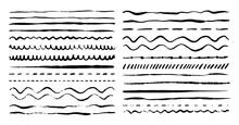 Hand Drawn Vector Dividers. Lines, Borders And Laurels Set. Ink Doodle Design Elements. Brush Stroke Marks.