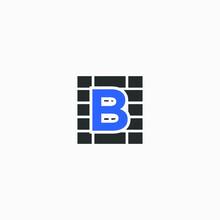 B  Letter Logo  Brick Wall Logo Design