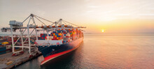 Crane Loading Cargo Container To Container Ship Stand By In The International Terminal Logistic Sea Port  Concept Freight Smart Shipping By Ship At Sunset