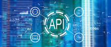 API - Application Programming Interface Concept With Downtown Skyline Buildings