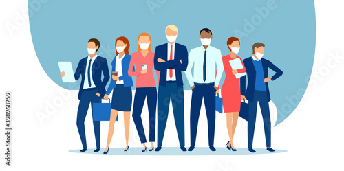 Obraz Vector of businesspeople wearing face masks standing together as a team - fototapety do salonu