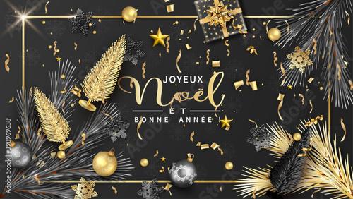 Fototapeta carte ou bandeau sur Joyeux Noël et Bonne Année en or sur un fond noir avec des branches de sapin des boules de Noël, cadeaux, des sapins, des étoiles et des flocons de neige de couleur argenté, or obraz
