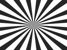 Sunlight Rays Black And White Color Burst Background. Sun Beam Ray Sunburst Wallpaper. Retro Bright Backdrop. Vintage Poster Vector Illustration