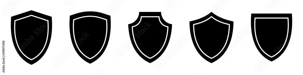 Fototapeta Shields line icon set. Different shields shapes. Line art. Protect badge. Black security icon. Protection symbol. Security logo.Vector graphic.