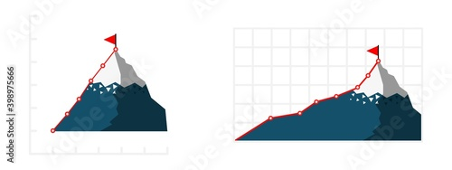 Growing infographic chart with mountain climbing route Fotobehang