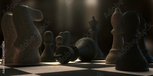 3d illustration highlighting a checkmate move in the game of chess Fototapete