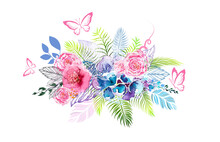 Floral Abstraction From Watercolor Different Colors With Butterflies. T-shirt Print. Vector Illustration.