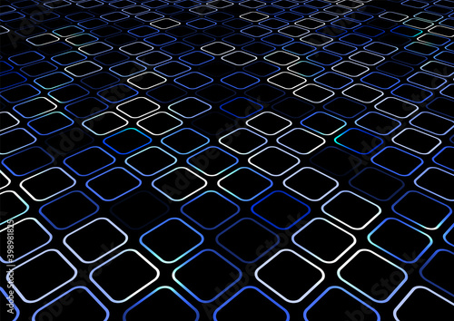 Canvas Print Abstract blue geometric square border rounded corner creative pattern perspectiv