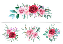 Watercolor Floral Arrangements Clipart For Wedding Or Greeting Card Composition. Flowers Illustration Decoration Of Red And Peach Flowers, Leaves, Branches. Vector Botanic Elements