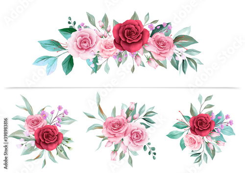 Tela Watercolor floral arrangements clipart for wedding or greeting card composition