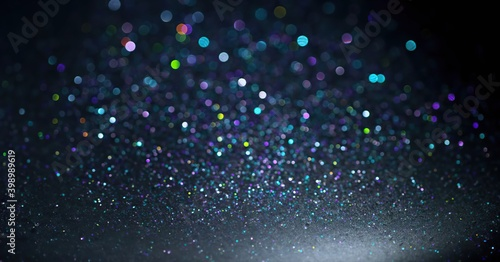 Obraz Blue, green and purple sequins on a black background, abstract Wallpaper - fototapety do salonu