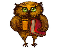 Illustration Of A Brown Cute Owl With A Mug In His Hand And A Book In The Other, Standing Full-length And Looking At The Camera