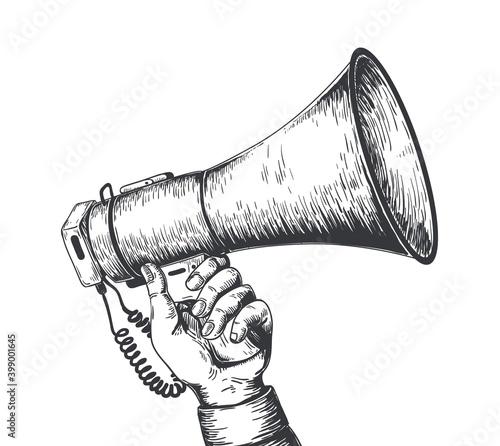 Vászonkép Retro hand drawn megaphone