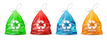 Garbage Sorting Bags. Realistic Plastic Colored Packages For Glass And Paper, Metal And Organic Rubbish. Separate Waste For Recycling, Trash Utilization And Secondary Using. Vector Eco-friendly Set