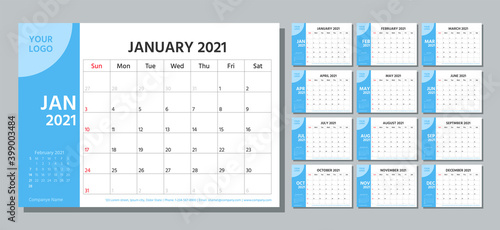 Obraz Planner 2021 year. Calendar template. Week starts Sunday. Vector. Yearly stationery organizer. Table schedule grid. Calender layout. Horizontal monthly diary with 12 month. Simple illustration. - fototapety do salonu