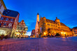 Evening view of Rothenburg ob der Tauber market square. Germany