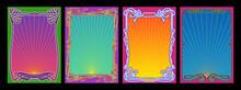 Psychedelic Color Art Nouveau Frame Set, Retro Decorative Borders, Colorful Backgrounds