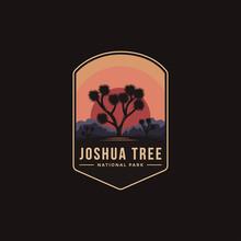 Emblem Patch Logo Illustration Of Joshua Tree National Park On Dark Background