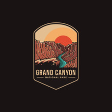 Emblem Patch Logo Illustration Of Grand Canyon National Park On Dark Background