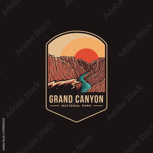 Fotografie, Obraz Emblem patch logo illustration of Grand Canyon National Park on dark background